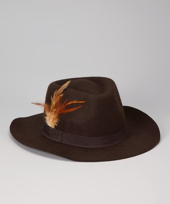 Brown Feather Wool Panama Hat