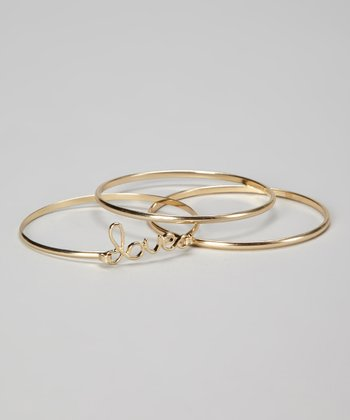 Gold 'Love' Bangle Set