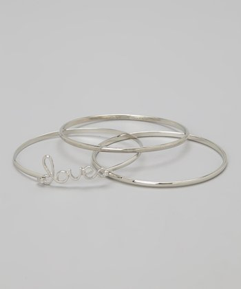 Silver 'Love' Bangle Set