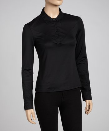 Black Long-Sleeve Polo - Women