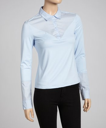 Light Blue Long-Sleeve Polo - Women
