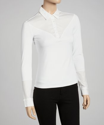 White Long-Sleeve Polo - Women