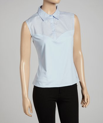 Light Blue Sleeveless Polo - Women