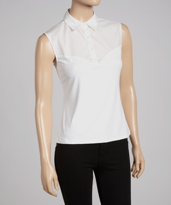 White Sleeveless Polo - Women