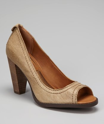 Beige Burnished Drina Peep-Toe Pump