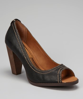 Black Burnished Drina Peep-Toe Pump