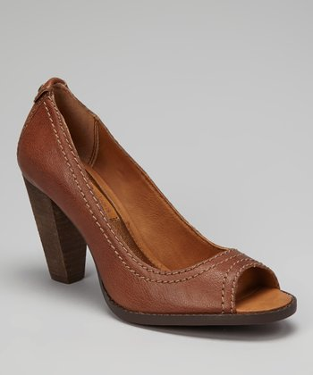 Whiskey Burnished Drina Peep-Toe Pump