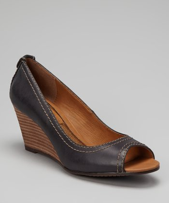 Black Burnished Peep-Toe Wedge