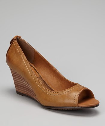 Camel Burnished Peep-Toe Wedge