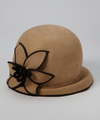 Brown Flower Wool Cloche
