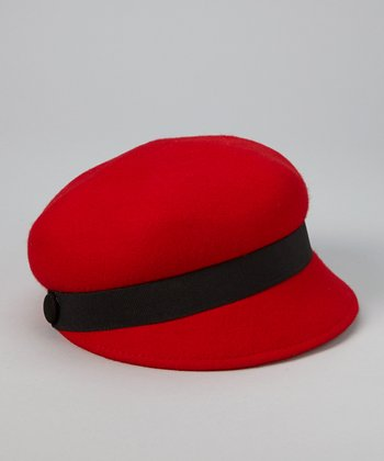 Red Wool Newsboy Cap