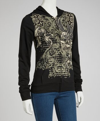 Black Baroque 'Glory' Zip-Up Hoodie - Women