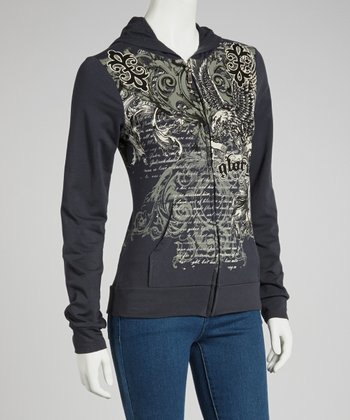 Gray Baroque 'Glory' Zip-Up Hoodie - Women