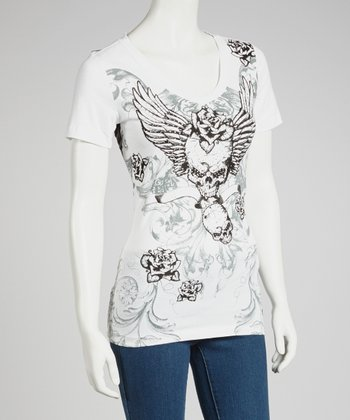 White Skull Angel V-Neck Tee - Women & Plus