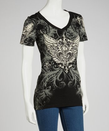 Black Fleur-de-Lis V-Neck Tee - Women & Plus