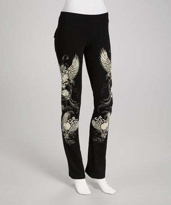 Black Skull Angel Lounge Pants - Women & Plus