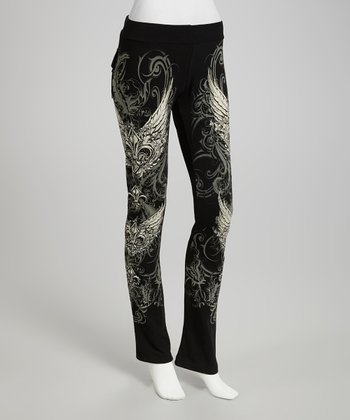 Black Fleur-de-Lis Lounge Pants - Women