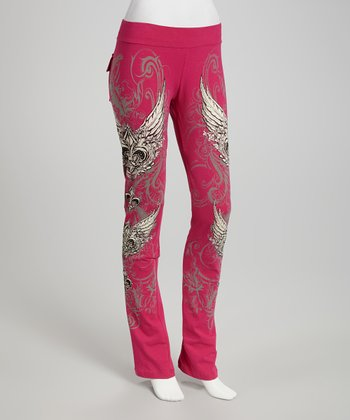 Hot Pink Fleur-de-Lis Lounge Pants - Women