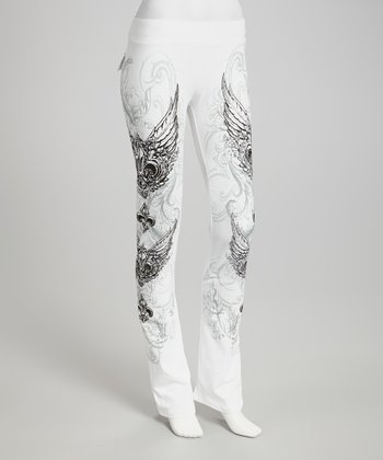 White Fleur-de-Lis Lounge Pants - Women