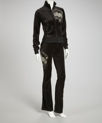 Black Velour 'Secret Heart' Lounge Set - Women