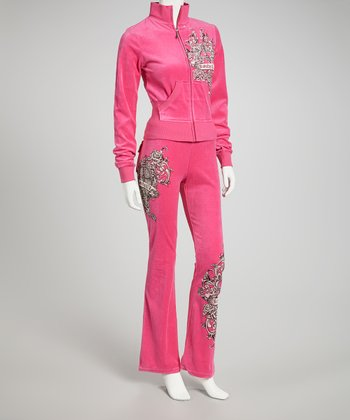 Hot Pink Velour Royalty Lounge Set - Women