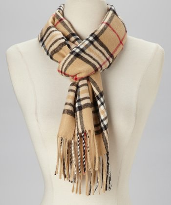 Beige & Black Plaid Scarf