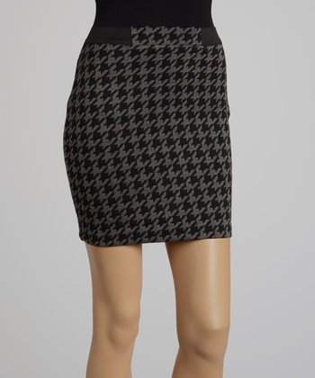 Black Houndstooth Skirt