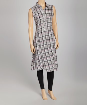 Lavender Plaid Stuarts Shirt Dress - Women