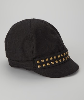 Black Studded Newsboy Cap