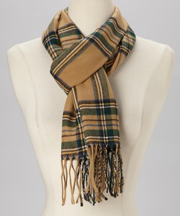 Tan & Green Plaid Cashmere Scarf