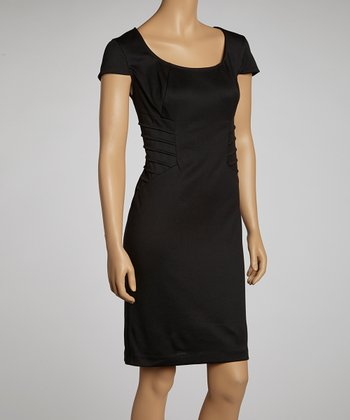 Black Seam Detail Scoop Neck Dress - Women