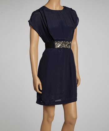 Navy Belted Dress - Women