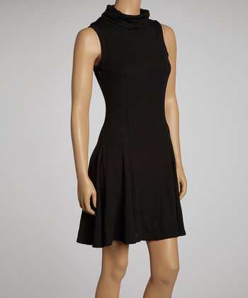Black Turtleneck Sleeveless Dress - Women