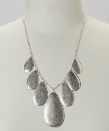 Silver Teardrop Bib Necklace