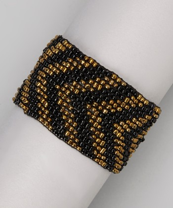 Black & Gold Chevron Beaded Stretch Bracelet