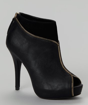 Black Verdict Peep-Toe Bootie