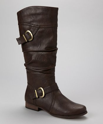 Dark Brown Buckle Boot