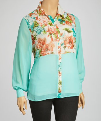 Jade Floral Button-Up - Plus