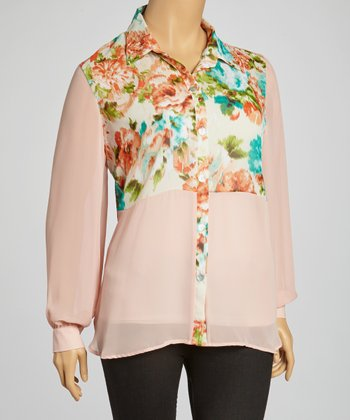 Peach Floral Button-Up - Plus