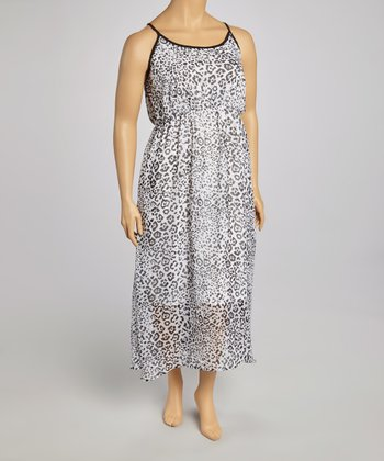 White Leopard Dress - Plus