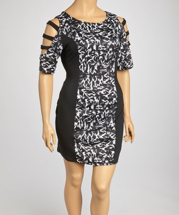 Black & White Abstract Cutout Dress - Plus