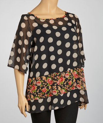 Black & Beige Polka Dot Sheer Top - Plus