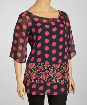 Black & Magenta Polka Dot Sheer Top - Plus