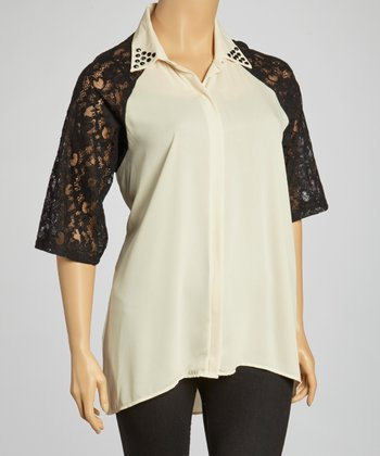 Beige & Black Lace-Sleeve Raglan Dress - Plus