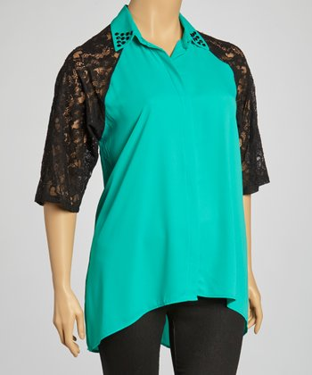 Jade & Black Lace-Sleeve Keyhole Top - Plus