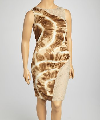 Beige & Stone Abstract Dress - Plus
