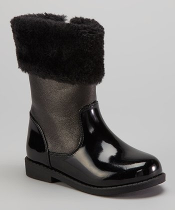 Black Patent Faux Fur Boot