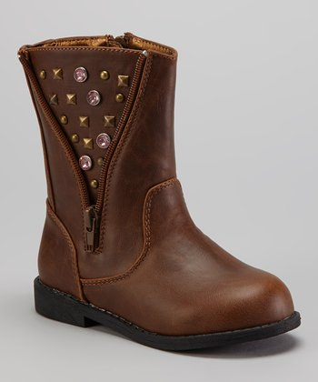 Brown Studded Rhinestone Boot