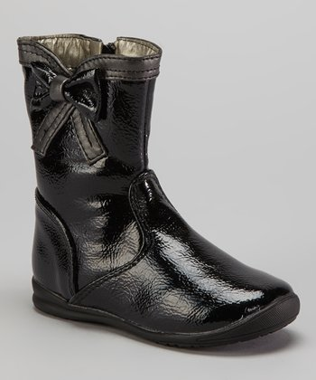 Black & Gray Patent Bow Boot