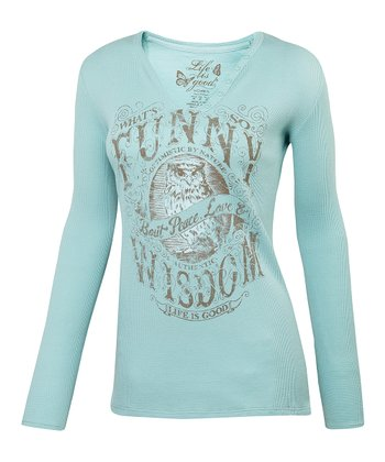 Tide Blue 'What's Funny' Waffle Long-Sleeve Tee - Women